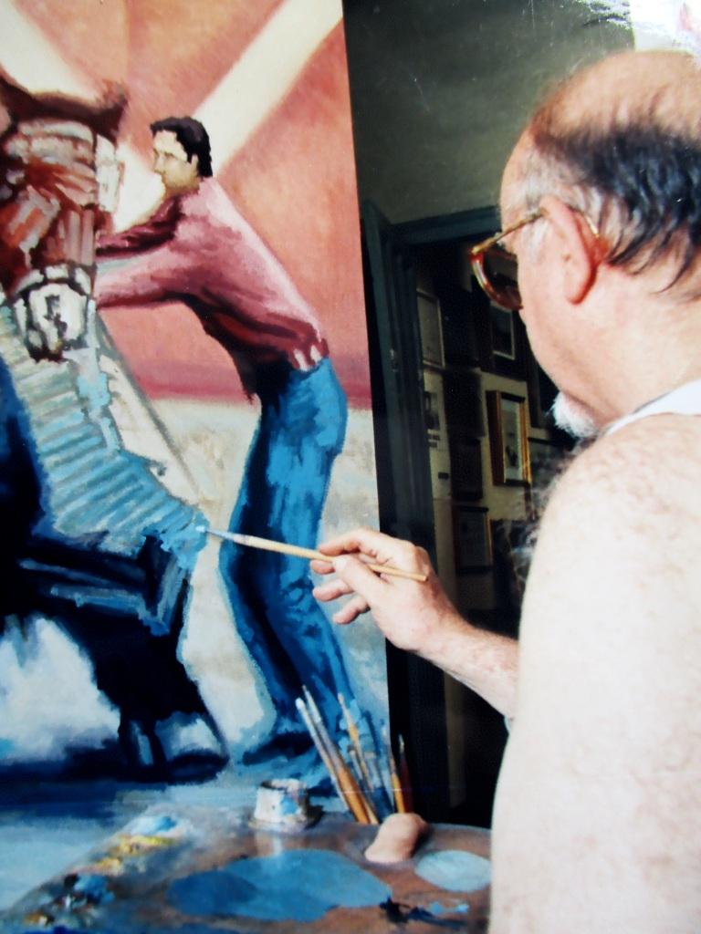 """Antonio Mª pintando """"Derribo en plaza"""" 1997"""