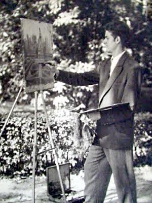 Antonio Mª pintando en un parque en 1953