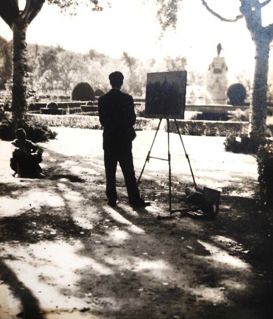 Sesión de pintura parque zaragozano 1953