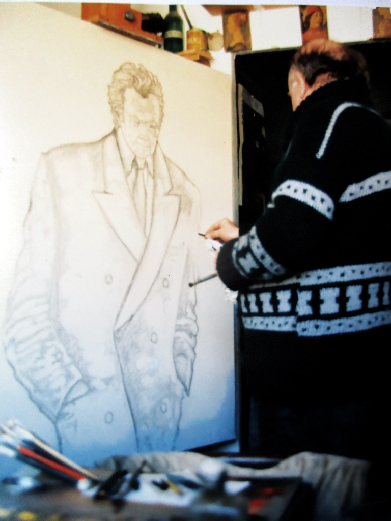 Realizando retrato Antoni Tàpies en 1994