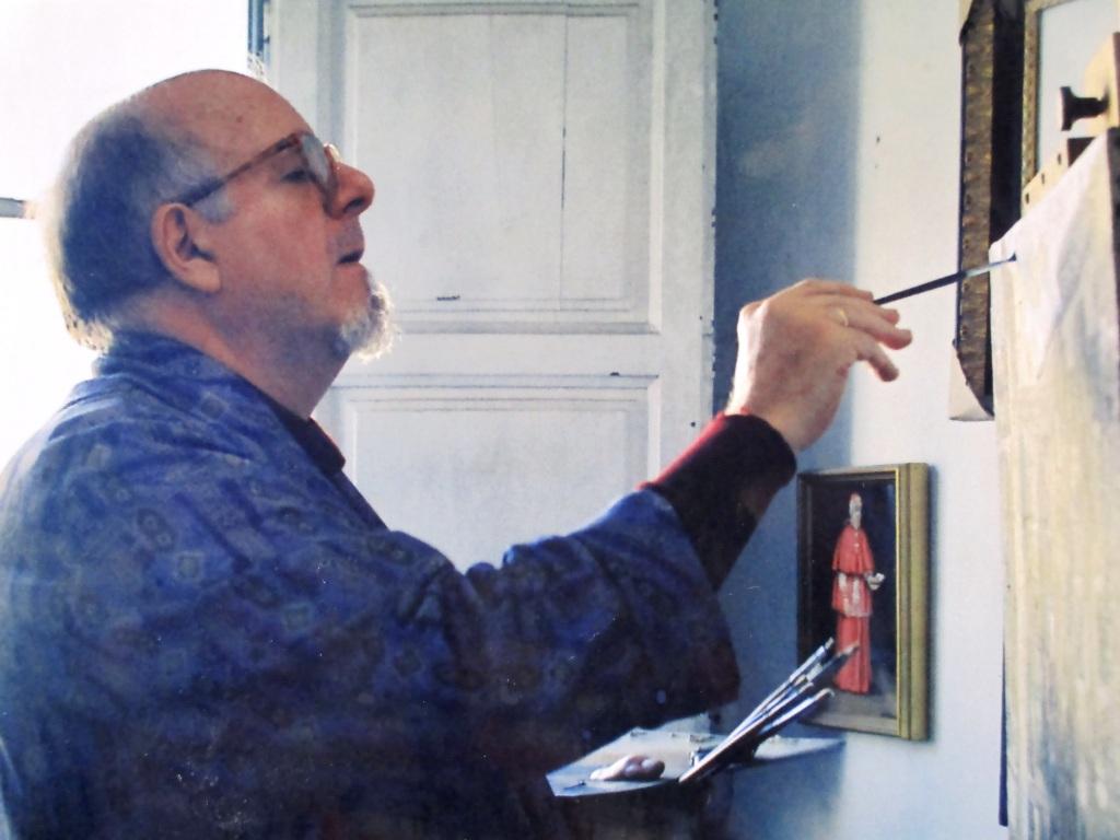 Antonio Mª en su estudio de Zaragoza 1998
